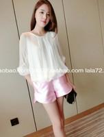 Fashion New Arrive Round Neck Half Sleeve Chiffon Batwing Sleeve Solid Shirts Free Shipping A419B-2-549#
