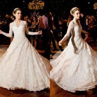 Fashion Beige Sheer Lace Long Sleeve vestido de noiva Ball Gown Bridal Gown Wedding Dress V-Neck Lace Wedding Dresses 2014