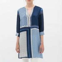 ST2225 New Fashion Ladies' vintage geometric print long blouses V neck three quarter sleeve shirts casual slim brand design tops