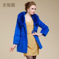 EMS free shipping!2014 female new arrival fox fur rabbit fur coat medium-long full leather fur overcoat  real rabbit fur coat