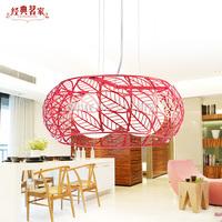 Iron Restaurant Ming modern minimalist bedroom chandelier red leaves hollow marriage room lighting creative lighting D05
