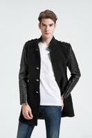 Men's EU Brand Style Top Quanlity Stylish Woolen Trench Coat Windcoat Black Cashmere Winter Long Thicken Coat,Drop shipping #435