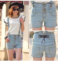 2014 Summer wild high waist denim shorts Korean Slim Straight jeans overalls stretch thin tide
