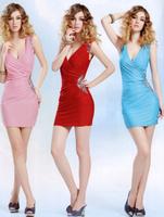 Sexy low-cut slim hip  sexy women's 2014 one-piece dress slim dress