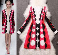 High quality 2014 Autumn brand runway dress women's elegant deep v neck polka dot print long sleeve dress celebrity dress XL