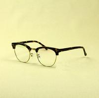 Sagawa fujii circle half ninety wood sheet metal myopia glasses frame 81211 black tortoise shell color glasses