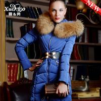 2013 luxury raccoon fur medium-long slim thickening down coat women xa-b1328 Long down coat of cultivate one's morality