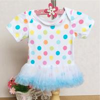Iridescence Polka Dots Soft gauze Short sleeves O-neck Cotton Bodysuit Skirt / Newborn baby Costume / Climb Clothes