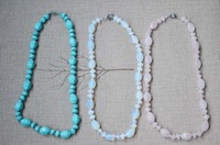 wholesale hot selling fasgion Short natural stone Chain handmade necklace multicolour for women 2014