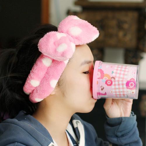 Adorable Bowknot is rabbit headband makeup bath wash hair band Girl's birthday present Wholesale and retail free shipping(China (Mainland))