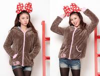 Thick fur Coats & Jackets women Bear rabbit ears with a Hoodies sweatshirt 3 plush velvet thickening fur outerwear D597
