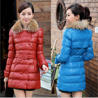 Free shipping, New Fashion Women's Winter Fur Collar Medium-Long Wadded Jacket PU Cotton-Padded Coat Outerwear with Belt
