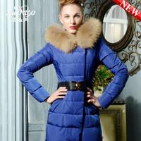 Raccoon fur slim fashion medium-long thickening down coat women xa-b1327