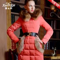 Raccoon fur fashion medium-long slim thickening down coat women xa-b1358