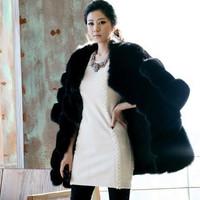 2014 new listing new century fashion Finnish fox fur coat leather high-end luxury fur coat grass