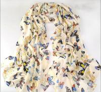 Free Shipping Hot women winter Butterfly scarf fashion style Chinese silk scarf polka velvet scarf chiffon Bohemia Scarf