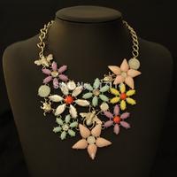 2014 New Arrive Luxury Resin Necklace Flower Brand Designer Multicolor Flower Choker Pendant Necklace Free Shipping