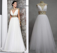 lqs-67 new sexy elegant real made beads cap sleeve open back floor length real photos tarik ediz wedding dress 2014