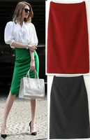 New European 201408 Autumn/Summer Pure Color Knee Length Skirts Back Slit Women's/Girl 3 Colors  Free Shipping