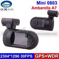 2014 New Hot Mini 0803 Car DVR Dash Cam Video Recorder Ambarella A7 + GPS Super HD 2304*1296 30FPS + 135 Degree Wide Angle Lens