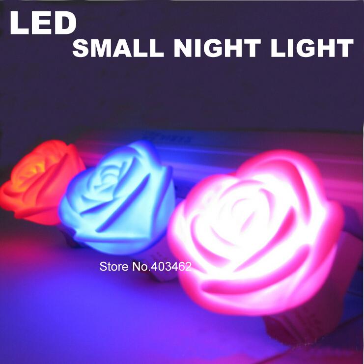 LED Small Night light petals lamp shape 0.5W 220V bedroom night light Lamp pink blue red Free Shipping(China (Mainland))