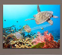 Modern Custom Wall Art Canvas Painting of Turtle Decor Picture Canvas Prints for Kids Room -- Wall Pictures for Living Room