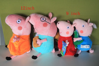 4pcs/set 12pcs all family peppa pig & george pig plush 12inch and 9inch size cute kids toddler toys pink Retail
