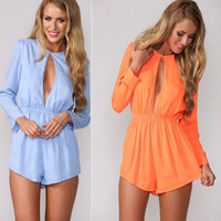 Macacao Feminino Hot Selling Fashion Women Jumpsuit Long Sleeves Round Neck Bare Breast Sexy Overalls Candy Color Rompers