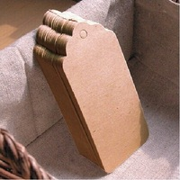 50pcs 9.5*4.5cm blank kraft paper hang tags with string DIY custom sticker&label brown gift tags cardboard tag