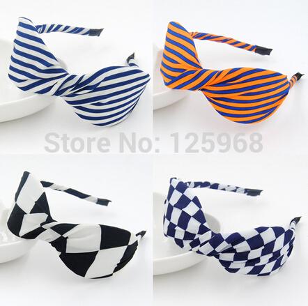 Free Shipping!2014 New Women Headwear Striped/Plaided Bows Chiffon Headband Popular Bowknot Hairbands Hair Accessories(China (Mainland))