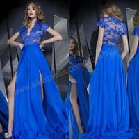 2014 Lace Evening Dresses Long Sexy Deep V Neckline Sheer Back A-line High Side Slit Royal Blue Evening Dresses