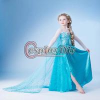 Hot Selling Frozen Snow Queen Elsa Dress Cosplay Costume For Kids/Girls