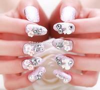 Excellent 24PCS*Artificial Noble Design 3D Pre-glue Acrylic False Nail Fake nails  free shiping