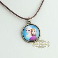 Frozen princess Elsa/Anna/Snow white charms pendant necklace,Sisters necklace,time gem neckalce