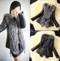 2014 Free Shipping Button Solid Design Female Faux Fur Vest Leather Outerwear Womens Coat Winter Jacket M-XXXL [70-4277]