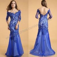 Off Shoulder V Neckline Dazzling Sequined Lace Backless Evening Dress 2014 Prom Dress With Sleeves