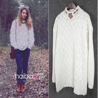 Fahion woman sweater flower embroidery coarse wool sweater winter/autumn outwear raglan sleeve sweater L oversize free shipping