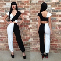 2014 Best Selling Summer Rompers Womens Jumpsuit Fashion Sexy Clothing Hollow Out Bandage Bodysuit Brand Casual Macacao Feminino