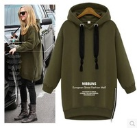 free shipping ! women's big size autumn sweatshirt XXL female velet pullovers girl's solid full sleeve hoodies