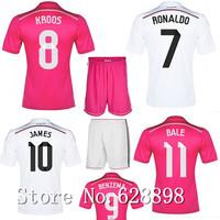 New 14/15 Real Madrid Jersey with shorts set,2015 KROOS RONALDO BALE JAMES Soccer t-shirt Football uniforms kits