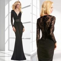 New Fashion Elegant Women Deep V Neck See Through Lace Back Patchwork Formal Long Sleeve Sexy Black Mermaid Prom Dresses