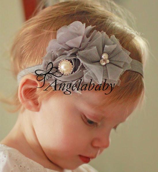 Sentiero ordine 10pcs/lot bambini bambino fasce shabby chic fiore fasce strass bambino ragazze accessori per capelli