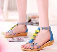 2014 lady flat heel pearl flip leather sandals flip-flop sandals female  shoes Women sandals flat sandals