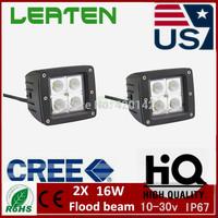 2X 16w cree led work light Flood beam offroad ATV Boat lamp SUV 12V24V 4WD 3.2inch led work lights
