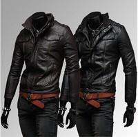 Mens Winter PU Leather Blazer Jacket Brand Leather Biker Motorcycle Jackets Coat Black/Brown Free Shipping