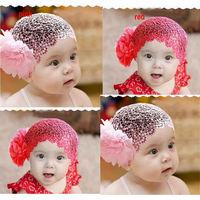 Free Shipping 2 Colors Newborn Baby Kid Girl Elastic Flower Headband Hairband Hair Accessories