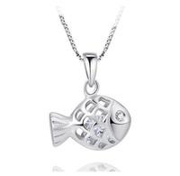 cute  fish  pendant necklace  unisex  simple  necklace