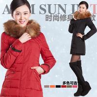 2013 slim fashion brief large fur collar medium-long down coat women xa-1217 Noble and elegant