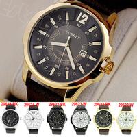 Free Shipping Luxury Men's Analog Sport Steel Case Quartz Date Leather Wrist Watch