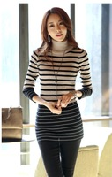 2014 Brand Design And High Quality New Korean High Necked Striped Bottoming Shirt Knit Sweater Z0937